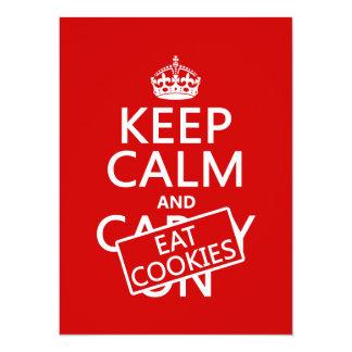 """Mantenga tranquilo y coma las galletas (el invitación 5.5"""" x 7.5"""""""
