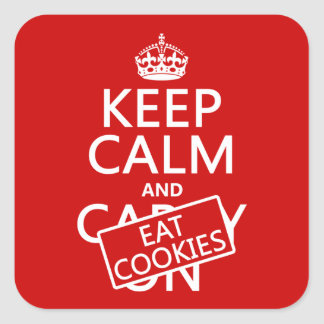 Mantenga tranquilo y coma las galletas (el pegatina cuadrada