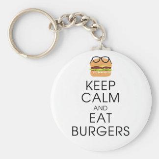 Mantenga tranquilo y coma las hamburguesas llavero redondo tipo pin
