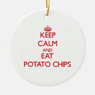 Mantenga tranquilo y coma las patatas fritas ornamento para arbol de navidad