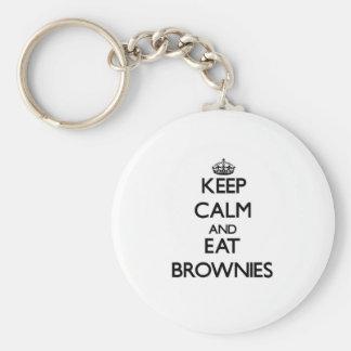 Mantenga tranquilo y coma los brownie llavero personalizado
