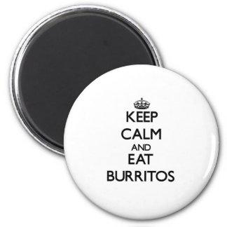 Mantenga tranquilo y coma los Burritos Imán Redondo 5 Cm