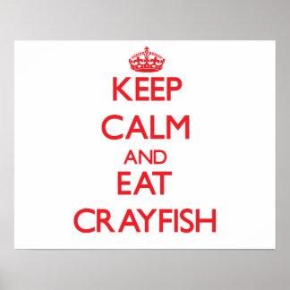 Mantenga tranquilo y coma los cangrejos impresiones