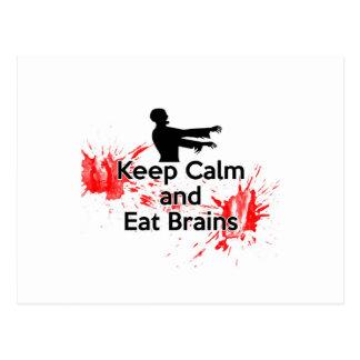 Mantenga tranquilo y coma los cerebros - zombi postales