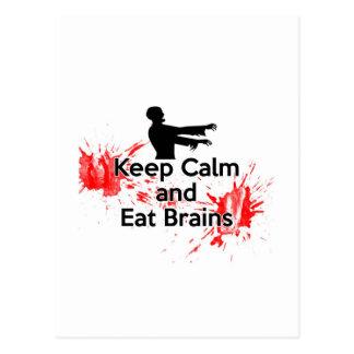Mantenga tranquilo y coma los cerebros - zombi tarjetas postales