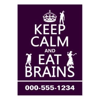 Mantenga tranquilo y coma los cerebros (zombis) (c plantillas de tarjetas personales