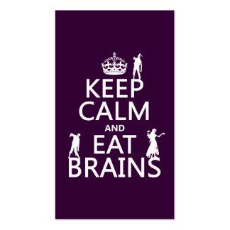 Mantenga tranquilo y coma los cerebros (zombis) (c tarjeta de visita