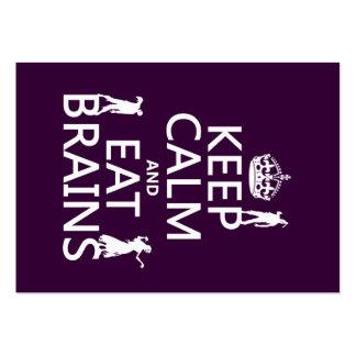Mantenga tranquilo y coma los cerebros (zombis) (c plantilla de tarjeta personal
