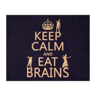 Mantenga tranquilo y coma los cerebros (zombis) impresiones en corcho