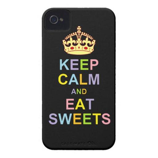 Mantenga tranquilo y coma los dulces iPhone 4 Case-Mate cárcasa