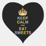 Mantenga tranquilo y coma los dulces calcomanías corazones personalizadas