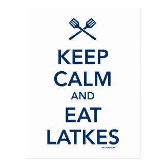 Mantenga tranquilo y coma los Latkes Postales