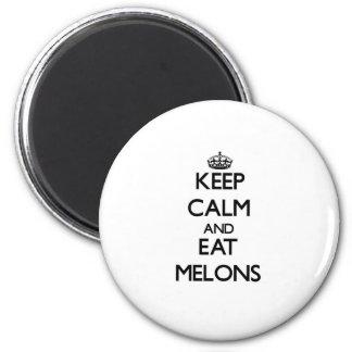 Mantenga tranquilo y coma los melones imán redondo 5 cm