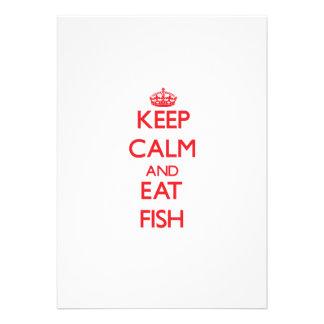 Mantenga tranquilo y coma los pescados comunicado personalizado