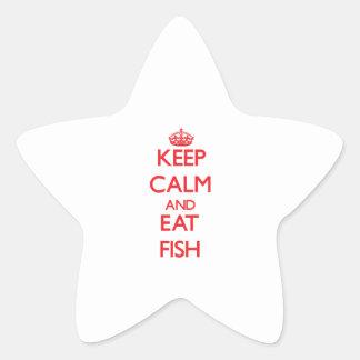Mantenga tranquilo y coma los pescados calcomania forma de estrella