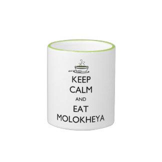 Mantenga tranquilo y coma Molokheya Tazas De Café