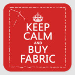 Mantenga tranquilo y compre la tela (todos los col calcomania cuadradas personalizadas