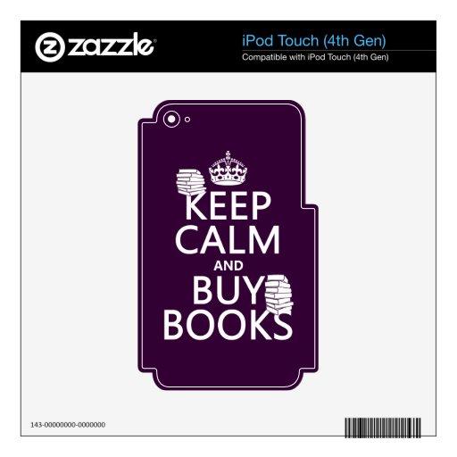 Mantenga tranquilo y compre libros (en cualquier c iPod touch 4G calcomanía