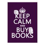 Mantenga tranquilo y compre libros (en cualquier invitación 13,9 x 19,0 cm