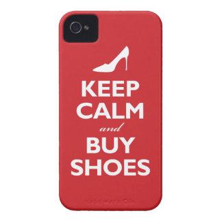 Mantenga tranquilo y compre zapatos (el rojo clási iPhone 4 Case-Mate funda