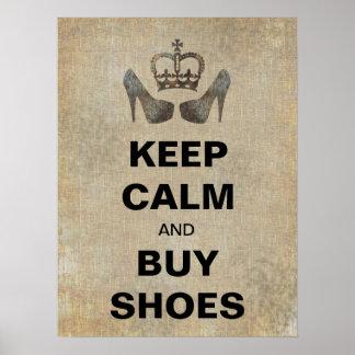 Mantenga tranquilo y compre zapatos poster diverti