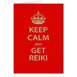 Mantenga tranquilo y consiga Reiki Felicitación
