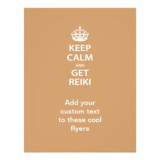 Mantenga tranquilo y consiga Reiki Flyer Personalizado