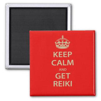 Mantenga tranquilo y consiga Reiki Imán Cuadrado