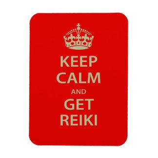 Mantenga tranquilo y consiga Reiki Imán Rectangular
