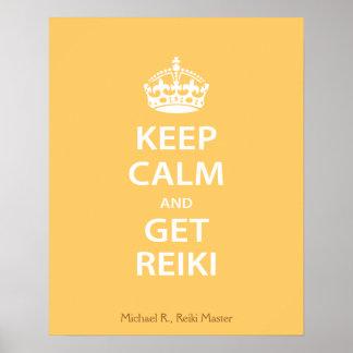 Mantenga tranquilo y consiga Reiki Poster