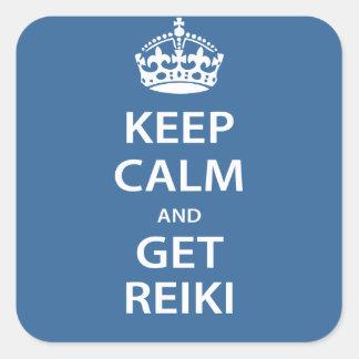 Mantenga tranquilo y consiga Reiki Etiquetas