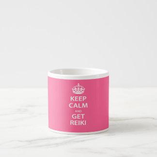 Mantenga tranquilo y consiga Reiki Taza Espresso