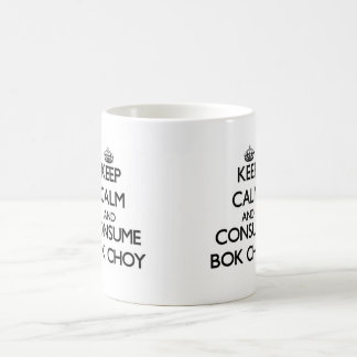 Mantenga tranquilo y consuma Bok Choy Taza Básica Blanca