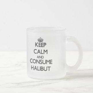 Mantenga tranquilo y consuma el halibut taza cristal mate