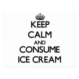 Mantenga tranquilo y consuma el helado postal