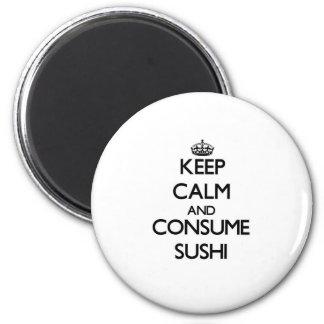 Mantenga tranquilo y consuma el sushi imán redondo 5 cm