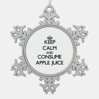 Mantenga tranquilo y consuma el zumo de manzana adorno de peltre en forma de copo de nieve