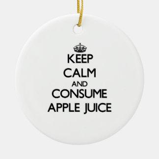 Mantenga tranquilo y consuma el zumo de manzana adorno redondo de cerámica
