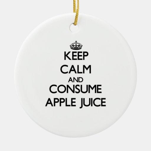 Mantenga tranquilo y consuma el zumo de manzana adornos de navidad