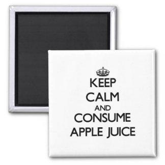 Mantenga tranquilo y consuma el zumo de manzana imanes