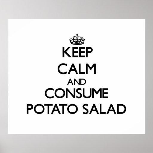 Mantenga tranquilo y consuma la ensalada de patata impresiones