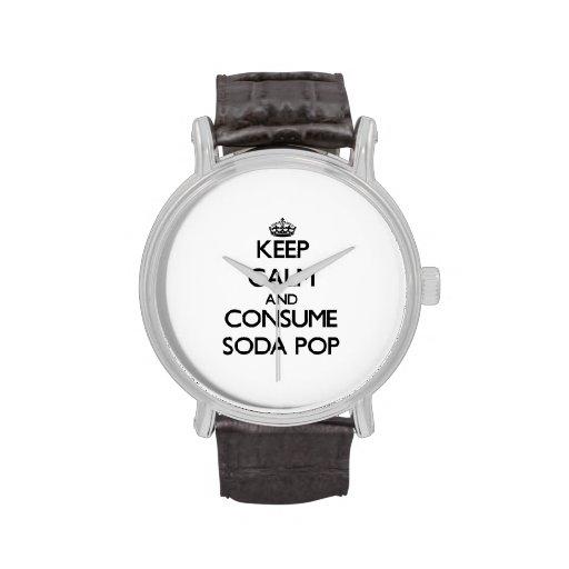 Mantenga tranquilo y consuma la gaseosa reloj de mano