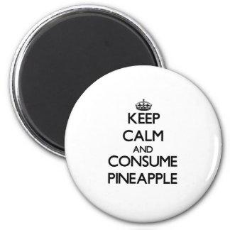 Mantenga tranquilo y consuma la piña imán redondo 5 cm