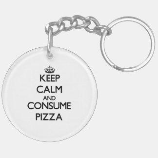 Mantenga tranquilo y consuma la pizza llavero