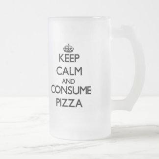 Mantenga tranquilo y consuma la pizza tazas de café