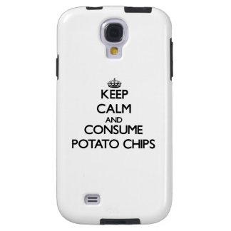 Mantenga tranquilo y consuma las patatas fritas