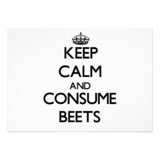 Mantenga tranquilo y consuma las remolachas comunicados