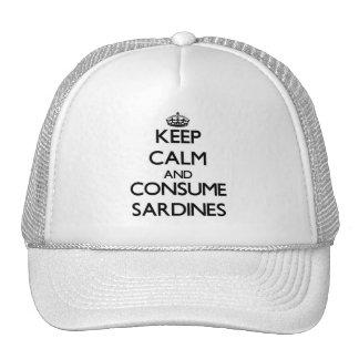 Mantenga tranquilo y consuma las sardinas gorra