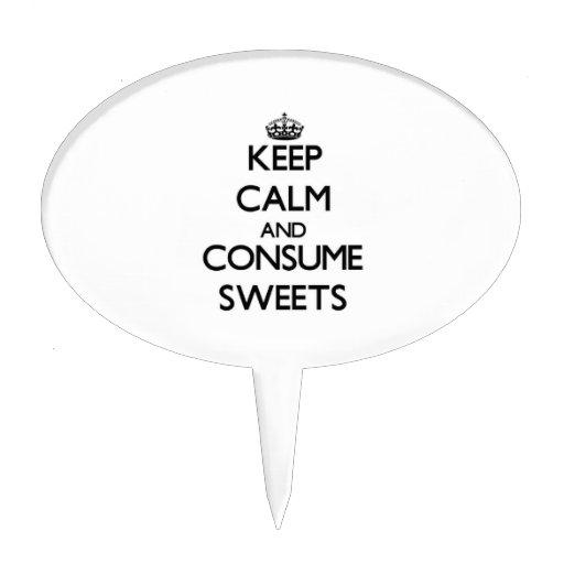 Mantenga tranquilo y consuma los dulces decoración de tarta