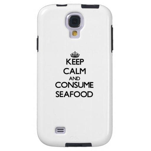 Mantenga tranquilo y consuma los mariscos